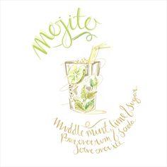 Mojito, cocktail, recipe, watercolour, hand-type