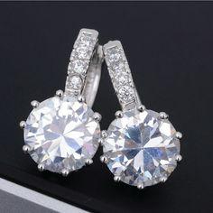 """Elizabeth"" White Gold Crystal Earrings 18k white gold filled Swarovski crystal earrings, approximately 2cm x 1cm, cut is round brilliant, style is waterdrop Wild Plum Boutique  Jewelry Earrings"