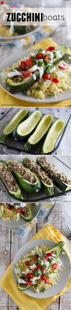 Zucchini Boats - zucchini is hollowed out and filled with ground beef, onions, and pine nuts before they are baked and then topped with yogurt, tomatoes and cucumber in this healthy dinner recipe.
