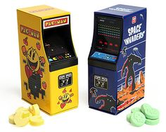 Arcade Cabinet Candy Two Pack. Old school arcade time! Delicious classic gaming candies in awesome retro arcade cabinet tins. Choice of Pac-Man or Space Invaders. Pac-Man tastes like strawberry and Space Invaders taste like sour apple. Geek Wedding Favors, Creative Wedding Favors, Wedding Favors For Guests, Wedding Ideas, Fall Wedding, Wedding Stuff, Dream Wedding, Wedding Invitations, Wedding Decorations