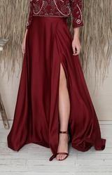 Sarena Skirt - Burgundy – Folkster Bridal Stores, Beaded Top, Black Tie, Get The Look, Design Elements, Midi Skirt, Burgundy, Draping, Female