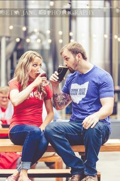 Rhinegeist Brewery Engagement session. Photo courtesy of Betsy Jane Photography. Cincinnati, Ohio.
