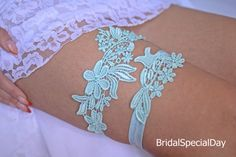 Mint Lace Wedding Garter Set Bridal Garter by BridalSpecialDay