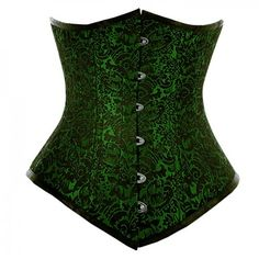 Waist training long line underbust corset in green brocade