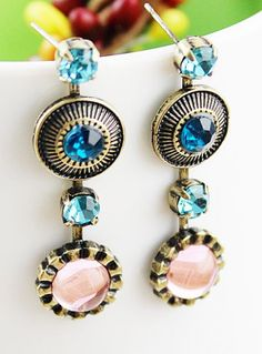 Blue Gemstone Vintage Round Stud Earrings pictures