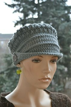 Crocheted  beanie Slouchy Hat  PEAKED CAP Winter by DosiakStyle ♡ ♡