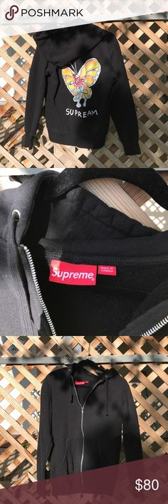 SS16 RARE SUPREME Zip-Up Hoodie RARE Supreme hoodie from Spring/Summer 2016 season. Butterfly logo graphic on the back. Only worn a few times. Supreme Tops Sweatshirts & Hoodies