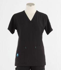 2ce77450091 Carhartt Womens Cross-Flex V-Neck Scrub Top Black - Scrub Med $27.00 Black