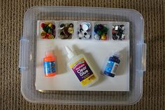 mini glue box - Keep kids busy for short periods of time by providing bin with glue and collage materials.