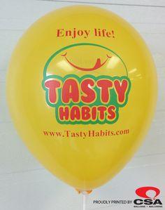 Custom printed balloons for Tasty Habits.