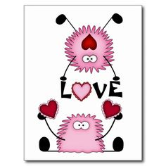Cute Fuzzies, Hearts and Love Postcard