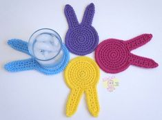 Spring Bunny Coaster - free crochet pattern by RaeLynn Orff/AllieCat's Hats and Crafts.