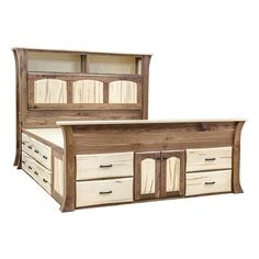 Our Galveston Chest bed is Amish Hand built to perfection. This Bookcase Platform King Bed is available in all sizes and disassembles for easy delivery. We feature heirloom quality typical of Amish constructed furniture. It is constructed by highly experienced Amish Craftsmen out of Solid Character Walnut and Spalted Maple. We carefully finish in a Natural Clear Bar top Conversion Varnish with satin Urethane. Let's analyze the attributes of this elegantly made King Bed. It features 16…