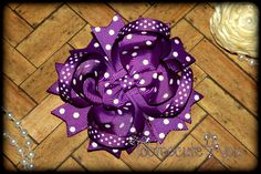 Purple Hair Bow  4 inch  Swiss Dot  Boutique by tootoocute4you