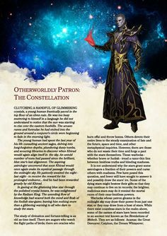 DnD Homebrew — Constellation Patron Warlock by BalthasarBarikdral Dungeons And Dragons Classes, Dungeons And Dragons Homebrew, Warlock Dnd 5e, Dnd Classes, Dnd 5e Homebrew, Dragon Rpg, Dnd Monsters, Pathfinder Rpg, Character Creation