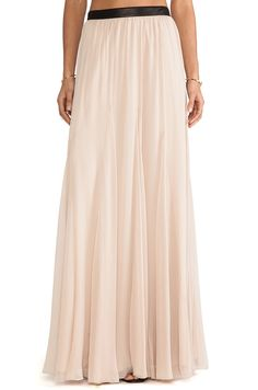 Alice + Olivia Dawn Godet Maxi Skirt in Nude from REVOLVEclothing