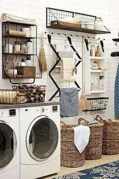 Organized Laundry Room in Farmhouse