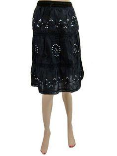 "Bohemian Skirt Gypsy Women Cotton Skirts Black Sequin Knee Length Skirt 32"" Mogul Interior, http://www.amazon.com/gp/product/B007MLAVGS/ref=cm_sw_r_pi_alp_a58vqb0XJJF9T"