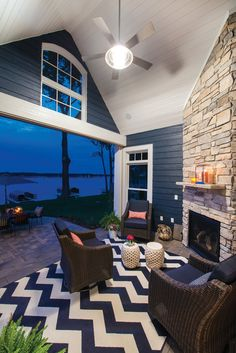 Entertainment center with a sunset view | Luxury Home Tour