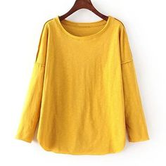 Stylish Long Sleeve Spliced Solid Color T-Shirt For Woman
