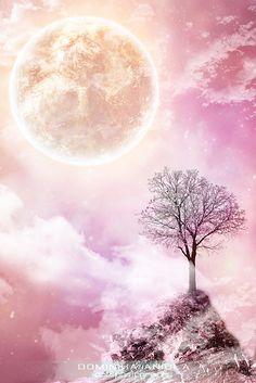 Pink moon by DominikaAniola on DeviantArt Pink Nature, Sun And Clouds, Body Adornment, Pink Moon, Moon Magic, Moon Print, Beautiful Moon, Moon Child, Night Skies