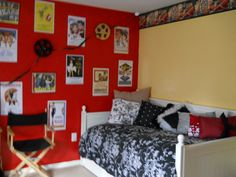 My daughter wanted a hollywood themed bedroom so we went bright and bold.  The border came from American Blind and Wall paper Co. and i just took the colors out of that then added hollywood memorabilia and wall posters