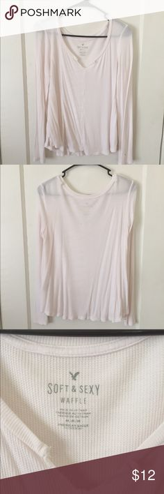 American Eagle Soft & Sexy Waffle Top Great condition, open to offers :) American Eagle Outfitters Tops Tees - Long Sleeve