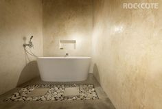 Create a traditional Tadelakt plaster finish with Rockcote Marrakesh. Bathroom Renos, Bathroom Wall, Bathroom Ideas, Contemporary Bathrooms, Modern Bathroom, Concrete Bathroom, Concrete Walls, Cement, Natural Bathroom