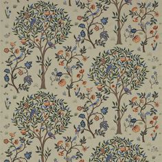 The Original Morris & Co - Arts and crafts, fabrics and wallpaper designs by William Morris & Company | Products | British/UK Fabrics and Wallpapers | Kelmscott Tree (DM6E230341) | Archive Embroideries