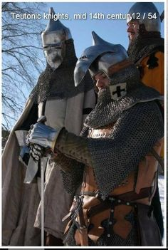 Pointy topped clapvisor style helms, for Teutonic knights/east meets west kits Medieval Knight, Medieval Armor, European History, Ancient History, Knight Orders, Gn, Renaissance Clothing, Knights Templar, Character Development