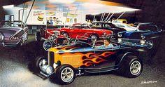 Hot Rod Art Prints | 1932 Ford Hot Rod Roadster Highboy, flames, moon tank, 60s hot rod ...