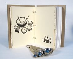 Blank Recipe Book Utensils 5 in. x 7 in. Size No.2 by BethBee