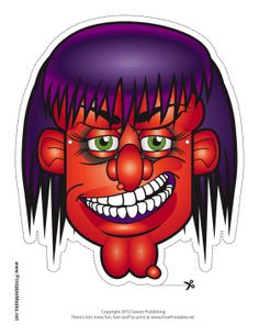 This red and purple witch mask has boiled red skin, scraggly hair, and even purple gums. Wear this mask and add a witch's hat for a truly terrifying witch costume. Free to download and print
