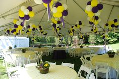 This purple & gold graduation party was held in the graduate's backyard with a beautiful frame tent, garden chairs, round tables, linens and more! Just change the purple to green. Outdoor Graduation Parties, College Graduation Parties, Graduation Celebration, Graduation Party Decor, Grad Parties, Graduation Ideas, Birthday Party At Home, 50 Birthday, Birthday Ideas