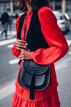 VivaLuxury - Fashion Blog by Annabelle Fleur: RETRO RED - PAUL & JOE Defile Beverly ruffled silk-satin dress | CHLOE Hudson medium shoulder bag & lace-up leather boots | ALEXA CHUNG for AG Laura velvet vest | PRADA retro sunglasses October 18, 2015