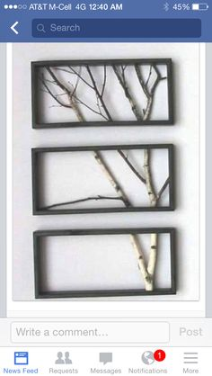 Natural Art   Take those old picture frames you no longer use and paint them all the same color. Then take a branch that has fallen or a limb that needs to be pruned and convert it into Natural Art using the old picture frames.   This is pretty simple, lay the frames on a flat surface and place the tree limb next to it, this way you can estimate where to make your cuts. I use a pair of pruning sheers since they seem to work the best and make clean cuts.