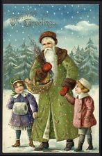 SANTA CLAUS postcard GREEN COAT Gold Hearts CHRISTMAS 1908 Children EXCEPTIONAL