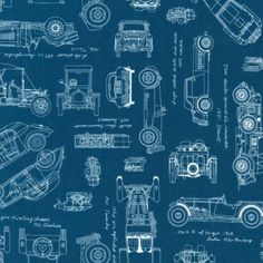 Vintage Car Fabric / Vintage Blueprints / Automobile Blueprint Fabric Robert Kaufman 15674 62 INDIGO Car Fabric / Fat Quarters, By The Yard by SewWhatQuiltShop on Etsy 32 Ford, Disney Cars, Vintage Airplanes, Vintage Cars, Old Fashioned Cars, Car Fabric, Lego Animals, Dark Blue Background, Robert Kaufman