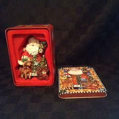 NIB Grandeur Noel 10023 Santa And Moose Christmas Tree Ornament With Tin