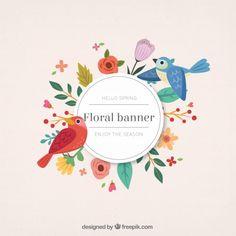 desenhadas mão pássaros bonitos com bandeira floral Vetor Premium