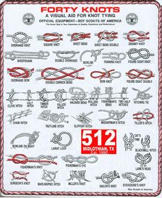 Knot Tying visual aid - 40 knots - handy to know for camping, moving stuff, etc.