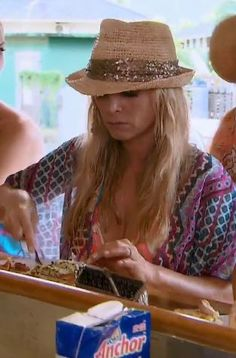 Tamra Judge's Metallic Sequin Band Straw Fedora | http://www.bigblondehair.com/real-housewives/rhoc/tamra-judges-metallic-sequin-band-straw-fedora/