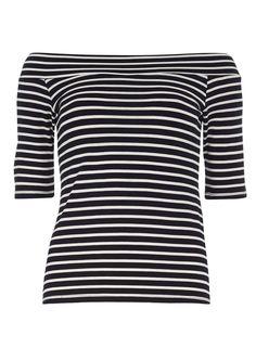 Navy Stripe Jersey Bardot - Dorothy Perkins