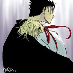 Tsubasa ~~ Kurogane embraces Fai after a particularly bad day. :: fanart.