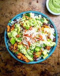 Easy Burrito Bowls with Creamy Avocado Sauce Recipe on Yummly. @yummly #recipe