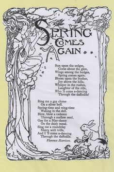 Spring Comes Again , Florence Harrison Ink Illustrations, Book Illustration, Nursery Rhymes Poems, Spring Poem, Pomes, Kids Poems, Rhymes For Kids, Poem Quotes, Pretty Words