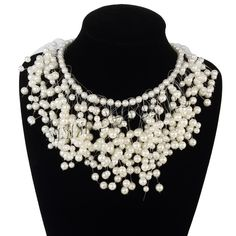 Plastic Pearl Necklace, with Crystal Thread, zinc alloy lobster clasp, with 3lnch extender chain