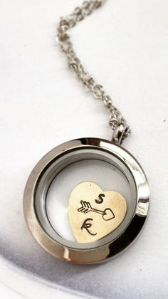 Personalized two initials floating locket heart jewelry