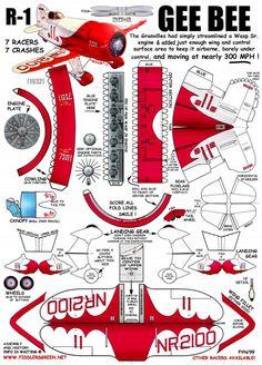 Gee Bee R1 Racer Paper Car, Paper Plane, Paper Toys, Paper Airplane Models, Model Airplanes, Hobbies And Crafts, Diy And Crafts, Paper Aircraft, Free Paper Models