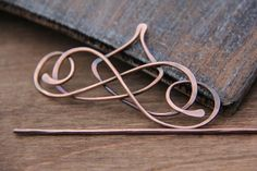 "Hair slide, hair barrette, hair clip, hair fork, hair stick ""Calligraphy"" Collection, antique copper or german silver hair slide"